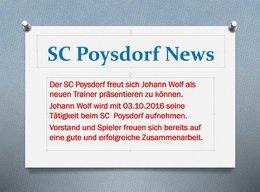 Der SC Poysdorf freut sich Johann Wolf als neuen Trainer präsentieren zu können.