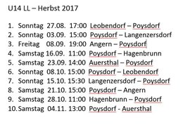 Spielplan U14 Herbst 2017