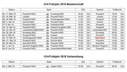 Spielplan U14 Frühjahr 2018