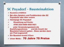 SC Poysdorf – Bausteinaktion Gewinnnummern verfügbar!