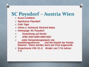 Karten SC Poysdorf - Austria Wien